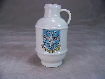 "Antique W H Goss Porcelain England Heraldic China 3.5"" Mini Jug Falmouth Crest"