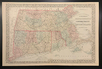 """Mitchell: """"County and Township Map of MA, CT, RI"""" 1874"""