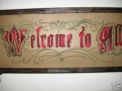 victorian punched paper motto Welcome to All, kit