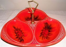 VINTAGE Red Orange Abstract Art Tid Bit Condiment Tray