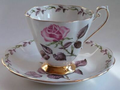 Vintage England Royal Standard Bone China Footed Cup Saucer Rose Marie Gold 2018