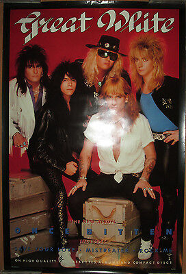 GREAT WHITE Once Bitten, Capitol promotional poster, 1987, 24x36, EX, hair metal