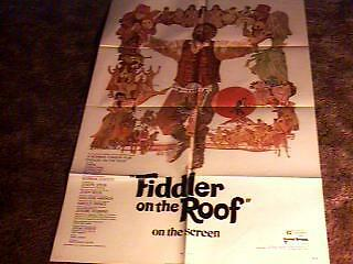 FIDDLER ON THE ROOF MOVIE POSTER 1972 CLASSIC