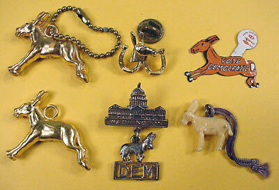 LOT of 6 - 1960 to 1976 DEMOCRATIC PARTY PINS & CHARMS