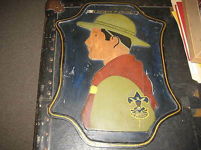 1930's Scout Handbook Cover Wooden Wall Plaque