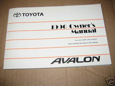 96 toyota avalon owners manual