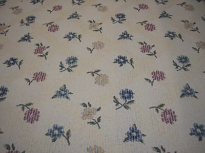 Blue Gold Dark Pink Floral W Cream Background Upholstery Fabric Sold