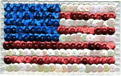 """3.5"""" Sequin American US Flag Embroidery Applique Patch"""