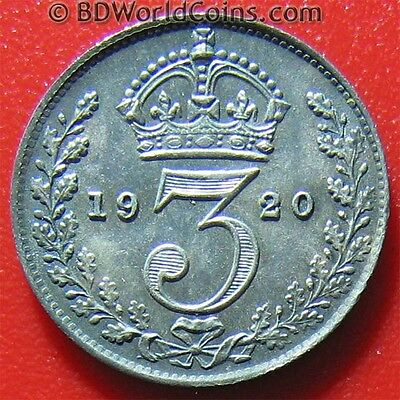 1920 GREAT BRITAIN 3 PENCE SILVER AU DETAILS NICE TONING BRITISH WORLD COIN 16mm