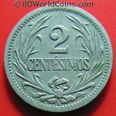 URUGUAY 1901-A 2 CENTESIMOS BERLIN MINT SOUTH AMERICAN WORLD COIN CU-NI 20mm