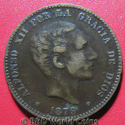 SPAIN 1879-OM 10 CENTIMOS 8-POINTED STAR ALFONSO XII SPANISH COIN BRONZE 30mm