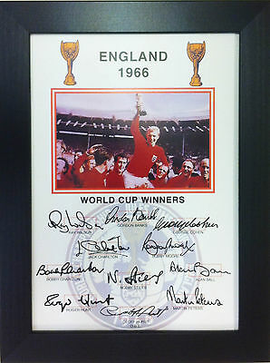 England 1966 World Cup Winners A4 signed Framed