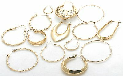 14 Estate 14k yellow gold HOOP EARRINGS LOT 1/2 pairs Assorted wholesale lot!