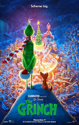"""Dr Seuss' THE GRINCH  2018 Original DS 2 Sided 27x40"""" Movie Poster B Cumberbatch"""