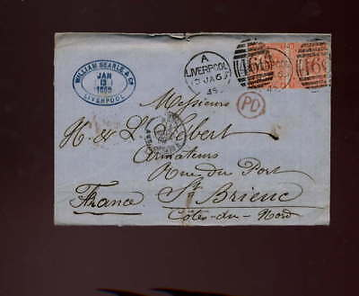 GB QV 1869 COVER to FRANCE SG94 Plate 10 4d x2 ,CV£240+