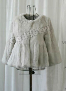 100% Real Genuine Rabbit Fur Coat Jacket Outwear Garment Vintage Women Ladies