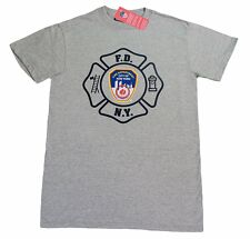 Mens gray fdny t shirt fire dept new york city official nyfd tee with