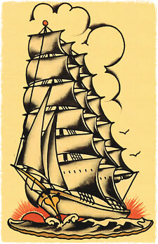 sailor jerry traditional flash art  ... Bound Ship Vessel