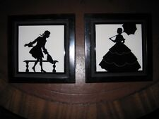 Matched Pair Arts & Crafts Mantle Tiles Black & White Silhouettes Framed c1900