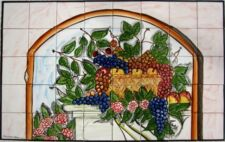DECORATIVE CERAMIC TILES: LARGE MOSAIC KITCHEN BACKSPLASH MURAL ART 30in x 48in