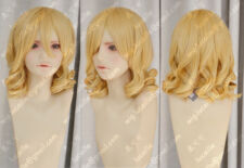 K184 Young plum Rozen Maiden/MEIRA Short Blonde curly cosplay Wig