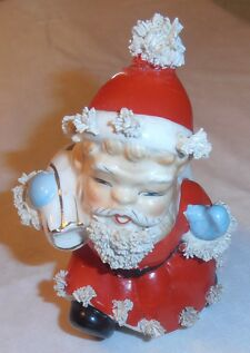 VINTAGE VERY OLD SANTA CANDY OR CANDLE HOLDER MADE IN JAPAN CERAMIC TYPE