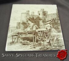 LT Swenson Antique Minton China Works Brown Transferware Tile Conwy Castle