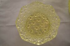 Vintage Hobbs Daisy & Button Canary Vaseline Round Sauce Dishes