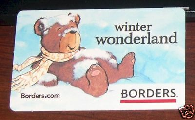 Borders Bookstore Winter Snow Polar Bear Christmas Holidays 2007 Gift Card
