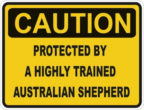 ... PROTECTED BY AUSTRALIAN SHEPHERD WARNING FUNNY STICKER DOG PET DECAL