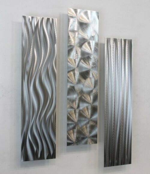 Abstract metal wall art decor sculpture silver blue ebb for Silver wall art