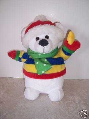 STUFFED   POLAR BEAR CHRISTMAS HOLIDAY DECORATION GIFT