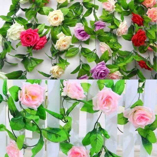 Hanging Artificial Rose Garland Silk Flower Ivy Vine Garland Wedding Home DecoNA 6
