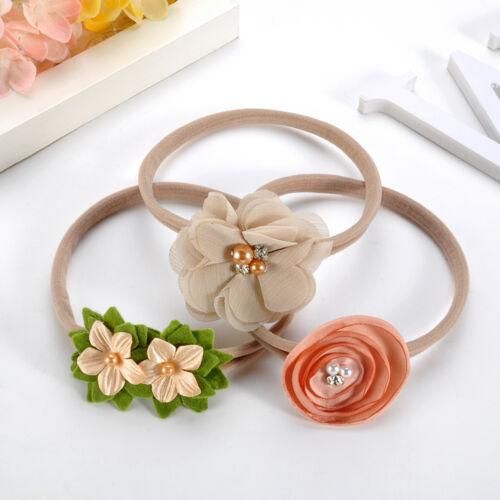 3Pcs/lot Newborn Girl Baby Headband Ribbon Elastic Headdress Kids Hair Band Bow 3