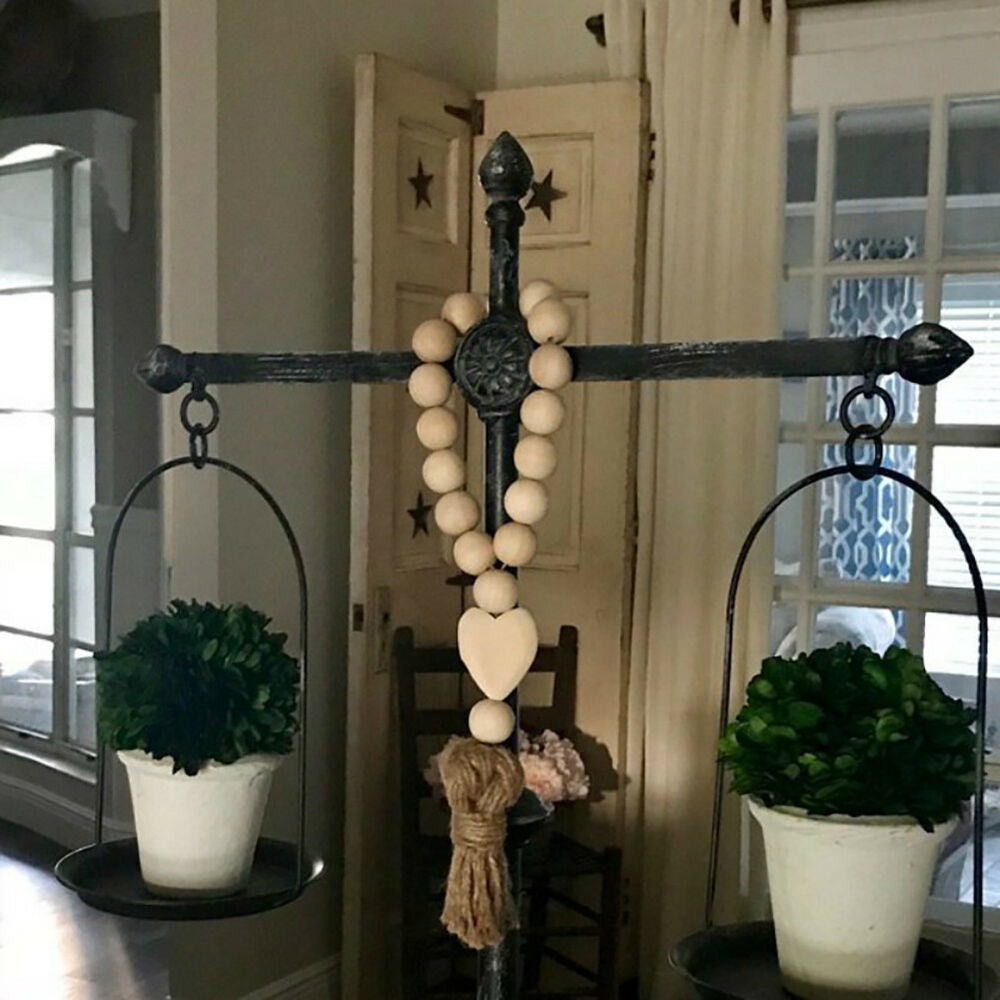 WR_ Nordic Heart Wooden Beads Tassels Hanging Ornament Home Wall Decoration Myst 2