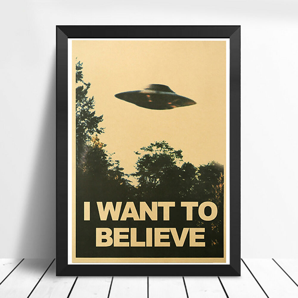 CN_ 50.5x35cm I Want To Believe Vintage UFO Painting Poster Wall Home Decor Ar