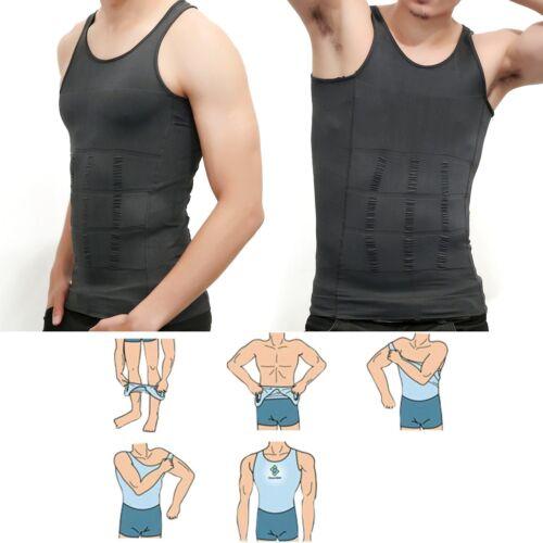 US Mens Slim Fit Shirt Body Shapers Vest Compression Tank Top Moobs Lift Corset 3