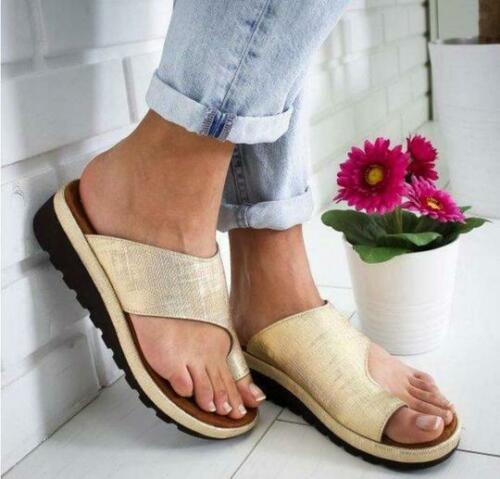 Womens Comfy Flat shoes Sandals Shoes Slipper - PU LEATHER - Bunion Corrector 9
