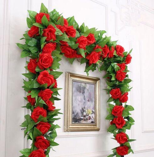 Hanging Artificial Rose Garland Silk Flower Ivy Vine Garland Wedding Home DecoNA 5