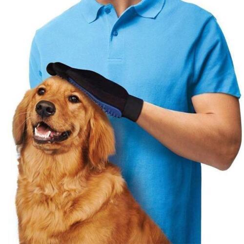 2x Pet Grooming Glove Brush Dog Cat Fur Hair Removal Mitt Massage Deshedding US 7