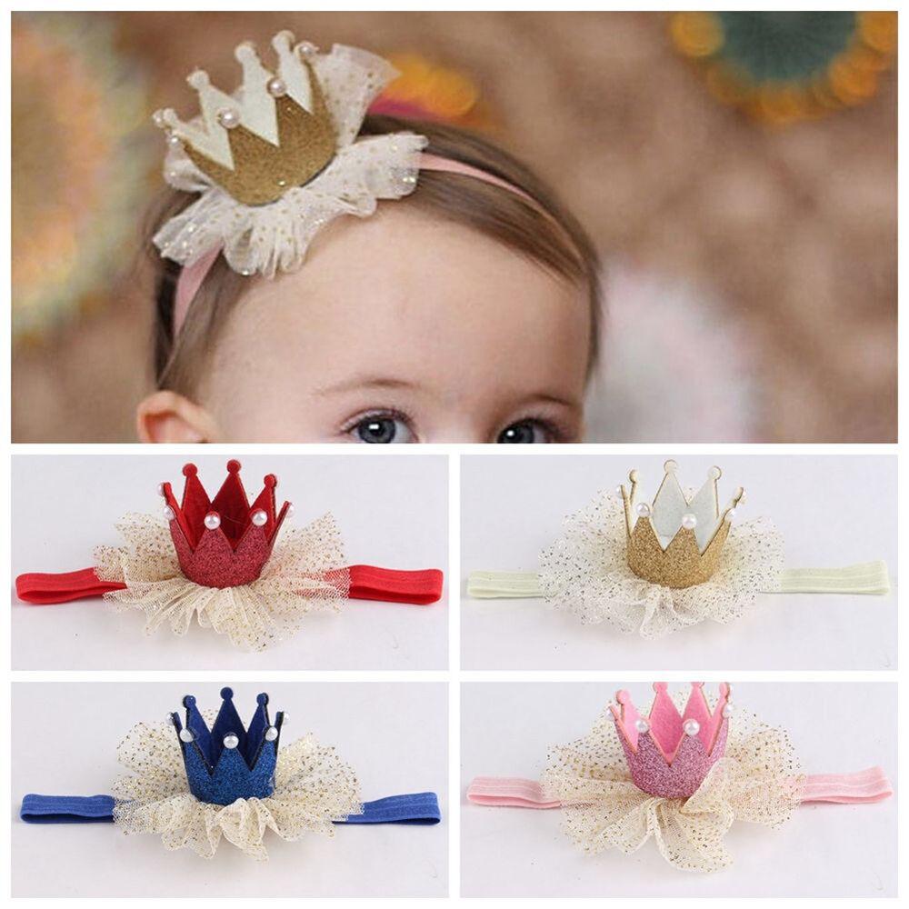 Am_ Kids Baby Girl Toddler Lace Crown Hair Band Headwear Headband Accessories Ni 8