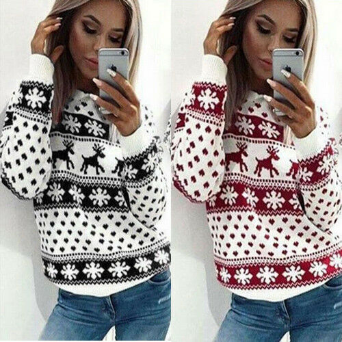 Women Ugly Christmas Xmas Sweater Pullover Jumper Top Sweatshirt Hoodies Blouse 6