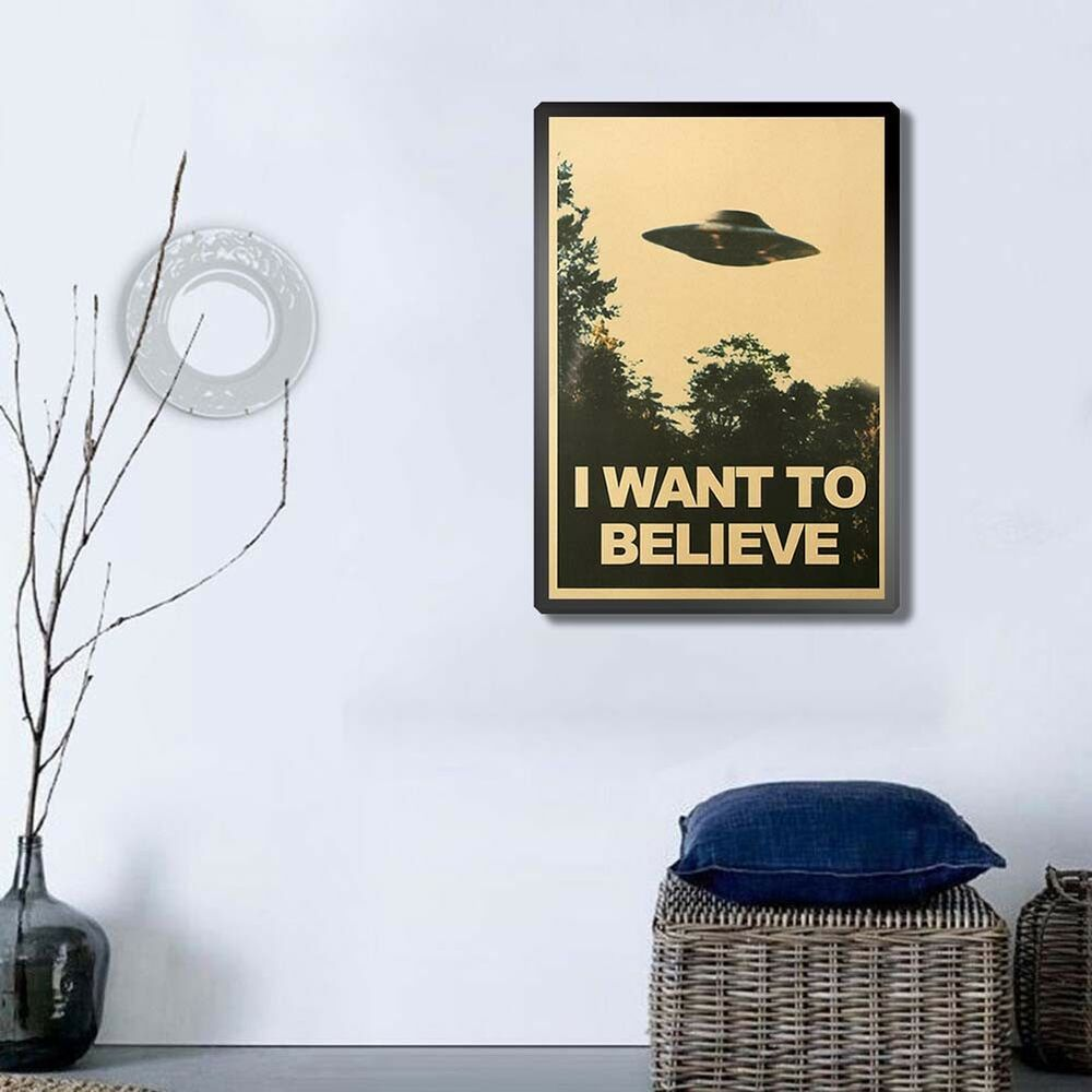 CN_ 50.5x35cm I Want To Believe Vintage UFO Painting Poster Wall Home Decor Ar 6
