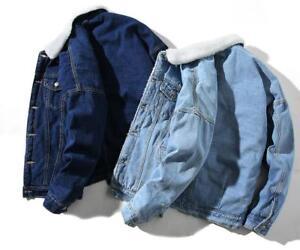 Fashion Men's Fleece Lined Winter Warm Coat Trucker Denim/Jean Fur Collar Jacket 2