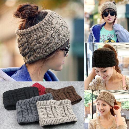 Au Women Beanie Tail Messy Bun Hat Ponytail Stretch Knit Crochet