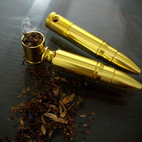 Unique Cool Bullet Shape Pipe Golden Mini Pipes Chinese Medicine Holder Portable 6