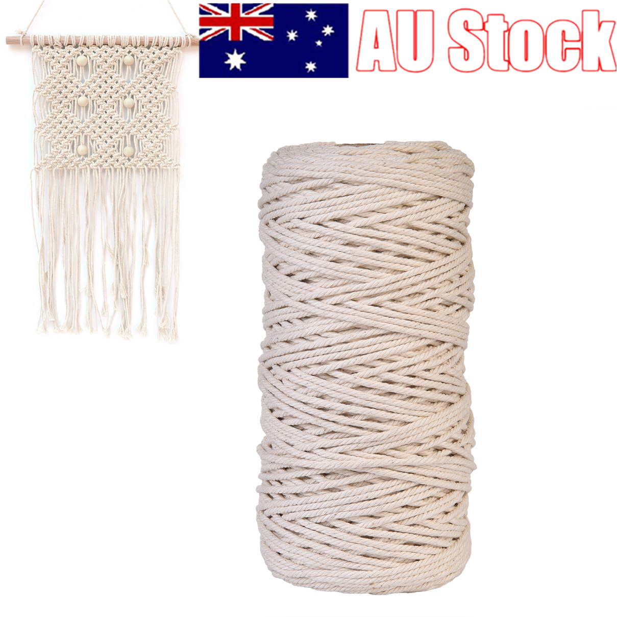 2/3/4/5/6mm Macrame Rope Natural Beige Cotton Twisted Cord Artisan Hand Craft 2