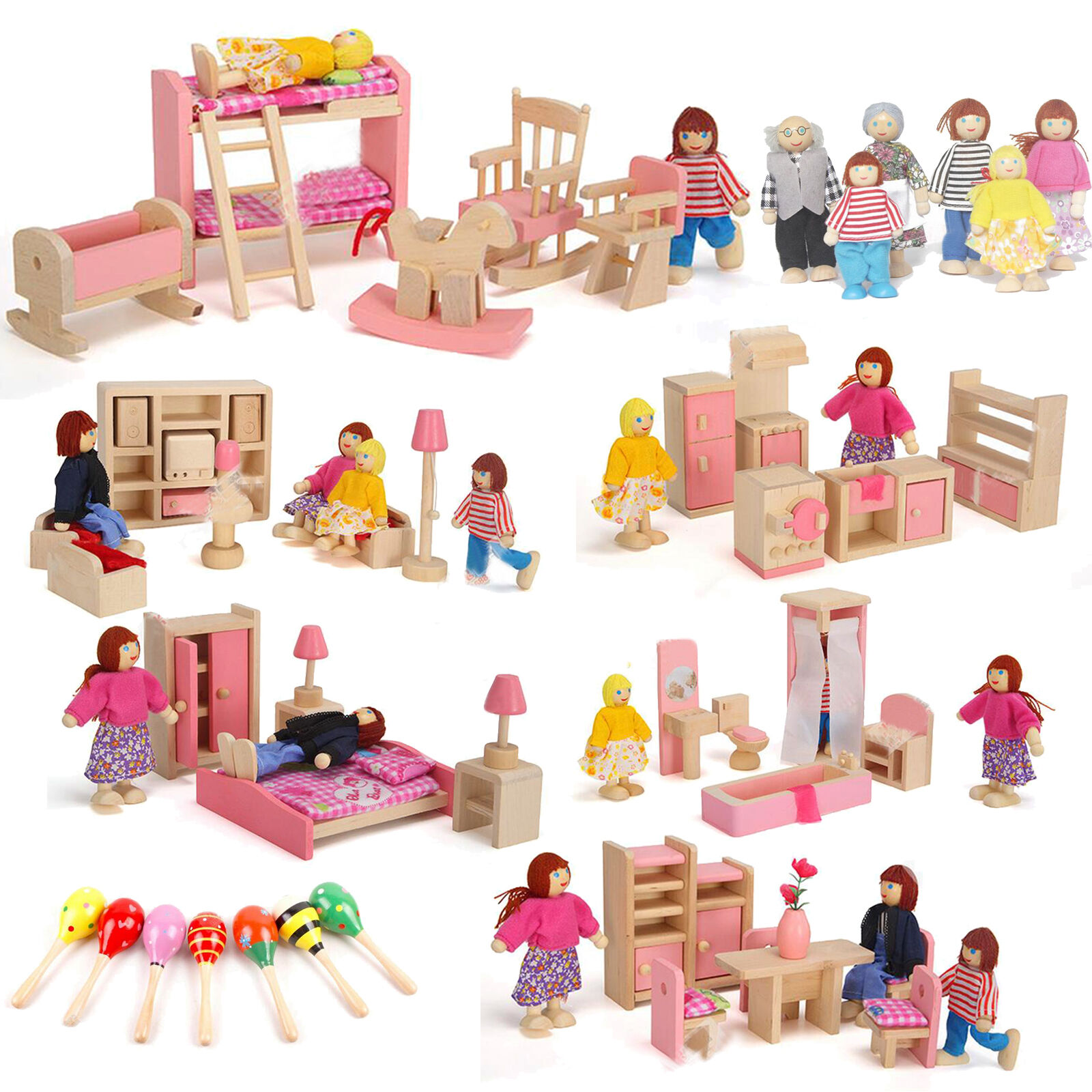 Wooden Furniture Room Set Dolls House Family Miniature Pretend Play Kids Toys 2