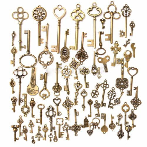 Set of 70 Antique Vintage Old LookBronze Skeleton Keys Fancy Heart Bow Pendant 2