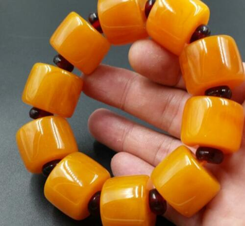 BEAUTIFUL BALTIC AMBER old Beeswax big size Bracelet 5A 3